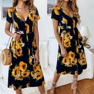 BETH Sunflowers Dress - DARK NAVY